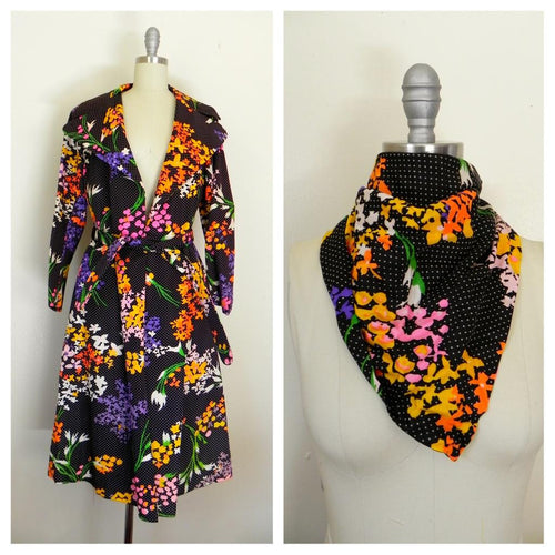 1950's Black White Polka Dot Floral Colorful Coat with Scarf - Vintage World Rocks - 1