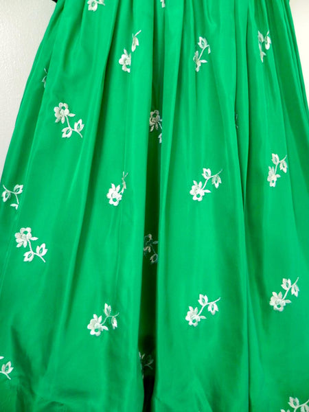 Vintage 1950s Emerald Green Floral Dress - Vintage World Rocks - 2