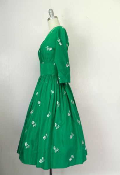 Vintage 1950s Emerald Green Floral Dress - Vintage World Rocks - 4