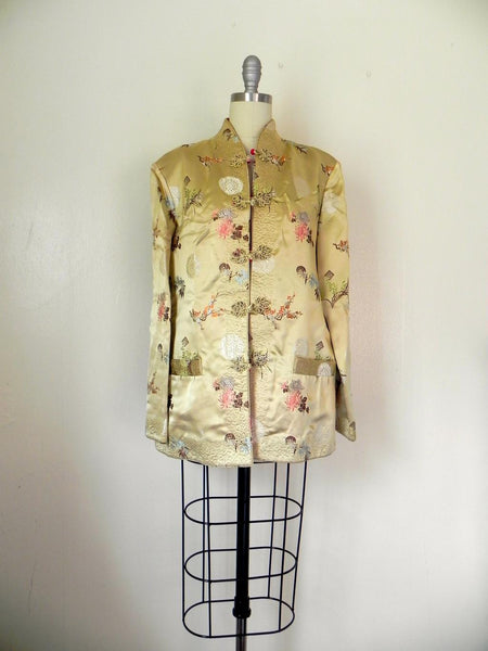Vintage 1970s  Asian Style Floral Reversible Tan/Red Jacket - Vintage World Rocks - 3