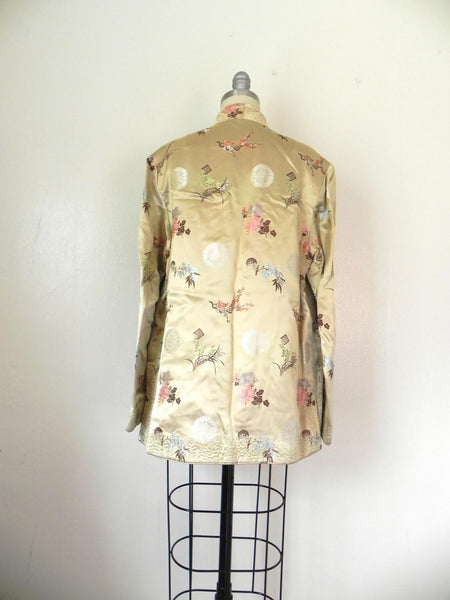 Vintage 1970s  Asian Style Floral Reversible Tan/Red Jacket - Vintage World Rocks - 4