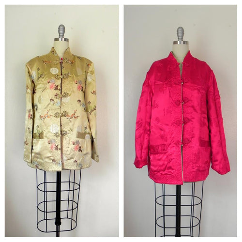 Vintage 1970s  Asian Style Floral Reversible Tan/Red Jacket - Vintage World Rocks - 1