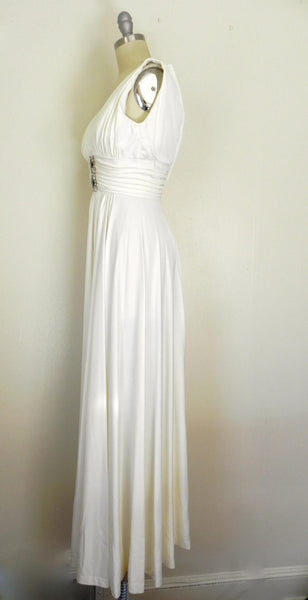 Vintage 1970s Off White V-neck Sleeveless Gown - Vintage World Rocks - 5