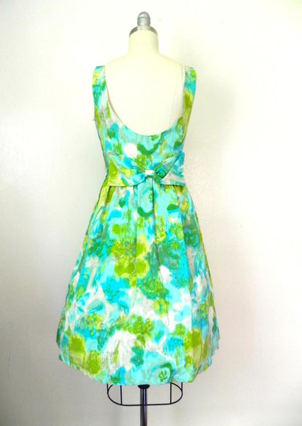Vintage 1950s-1960s Green/ Blue Abstract Dress - Vintage World Rocks - 3