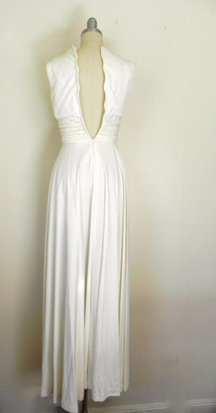 Vintage 1970s Off White V-neck Sleeveless Gown - Vintage World Rocks - 7