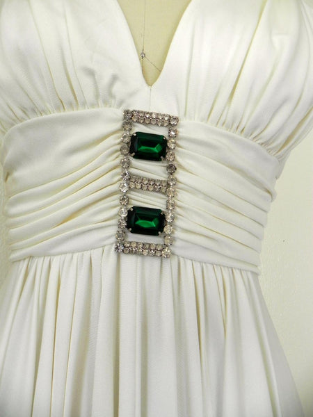 Vintage 1970s Off White V-neck Sleeveless Gown - Vintage World Rocks - 4