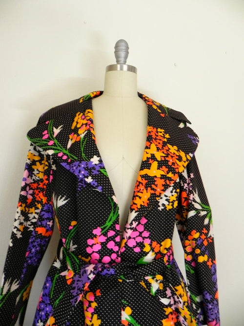 1950's Black White Polka Dot Floral Colorful Coat with Scarf - Vintage World Rocks - 2