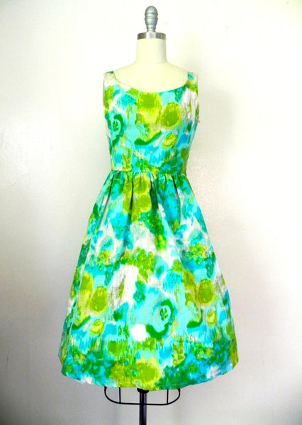 Vintage 1950s-1960s Green/ Blue Abstract Dress - Vintage World Rocks - 2