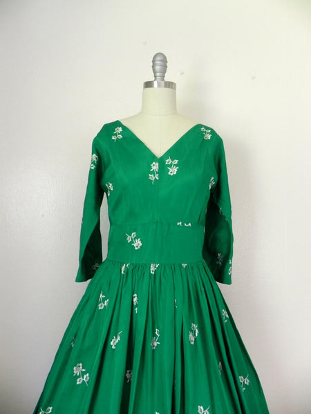 Vintage 1950s Emerald Green Floral Dress - Vintage World Rocks - 3