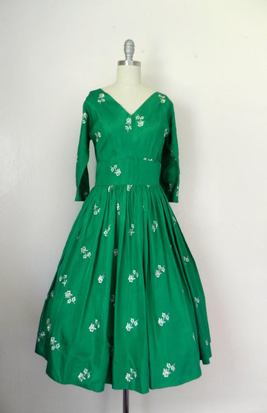 Vintage 1950s Emerald Green Floral Dress - Vintage World Rocks - 6