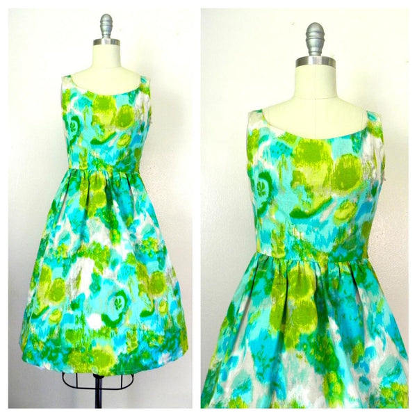 Vintage 1950s-1960s Green/ Blue Abstract Dress - Vintage World Rocks - 1