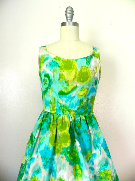 Vintage 1950s-1960s Green/ Blue Abstract Dress - Vintage World Rocks - 5