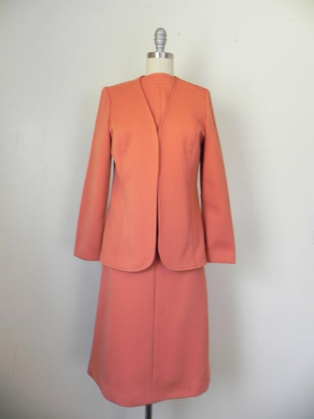 Vintage 1950s-1960s Peach/Salmon Dress and Jacket Suit - Vintage World Rocks - 5