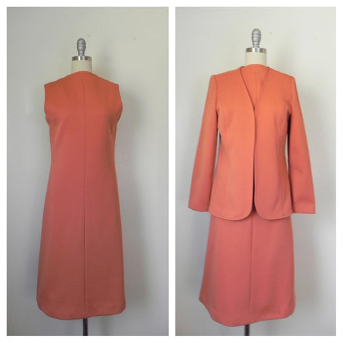Vintage 1950s-1960s Peach/Salmon Dress and Jacket Suit - Vintage World Rocks - 1