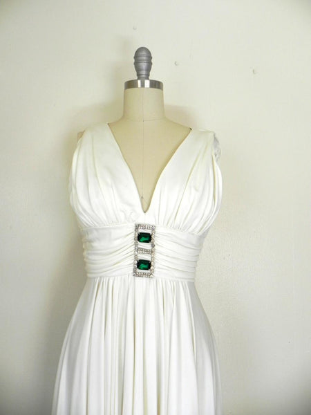 Vintage 1970s Off White V-neck Sleeveless Gown - Vintage World Rocks - 6