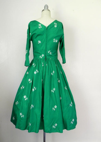 Vintage 1950s Emerald Green Floral Dress - Vintage World Rocks - 5