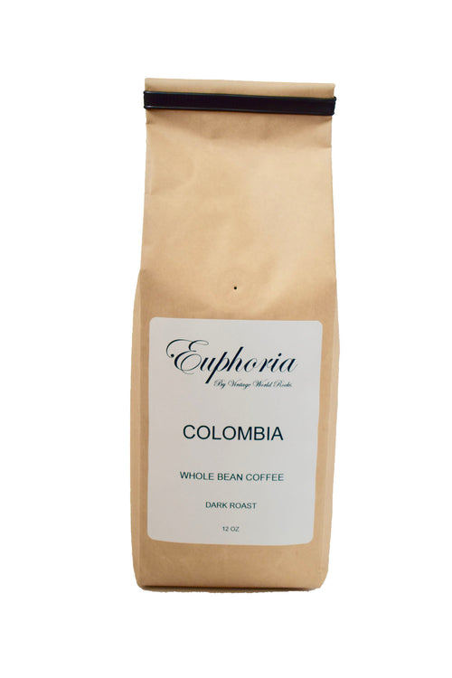 Euphoria by VWR Colombia La Meseta Whole Bean Dark Roast Coffee Locally Roasted 12 oz