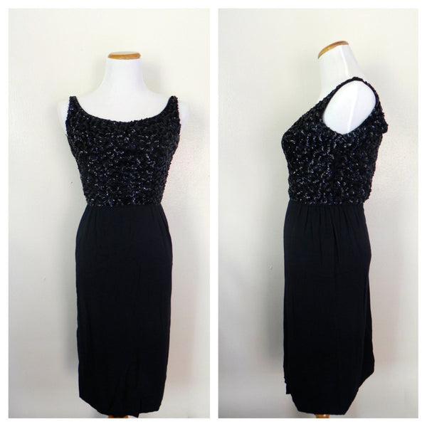 Vintage 1950's Wiggle Dress / Beaded Black Wiggle Dress / Size XS/S - Vintage World Rocks - 1