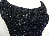 Vintage 1950's Wiggle Dress / Beaded Black Wiggle Dress / Size XS/S - Vintage World Rocks - 3