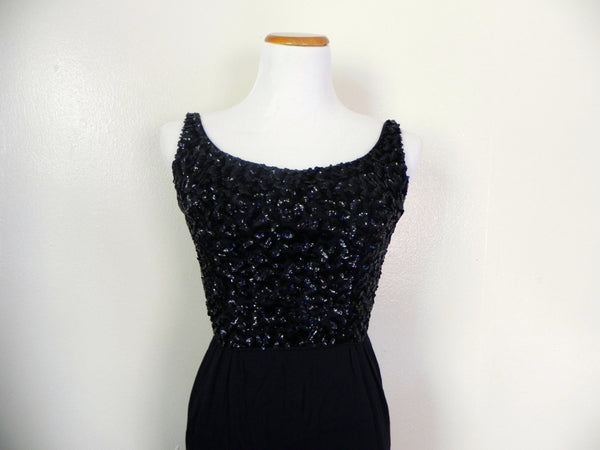 Vintage 1950's Wiggle Dress / Beaded Black Wiggle Dress / Size XS/S - Vintage World Rocks - 2