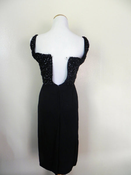 Vintage 1950's Wiggle Dress / Beaded Black Wiggle Dress / Size XS/S - Vintage World Rocks - 4