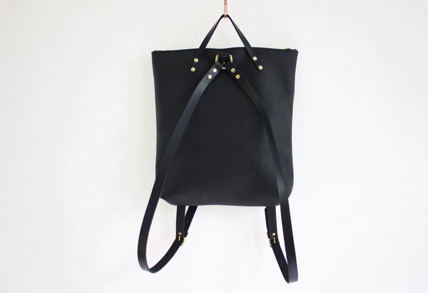 The Nico Backpack Black Original Leather Handmade by Neva Opet
