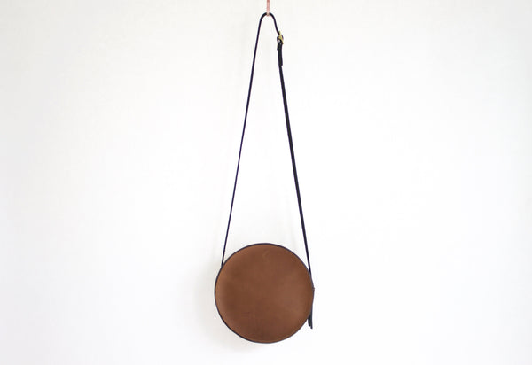 The Marina Circle Cocoa Bag Original Leather Handmade by Neva Opet