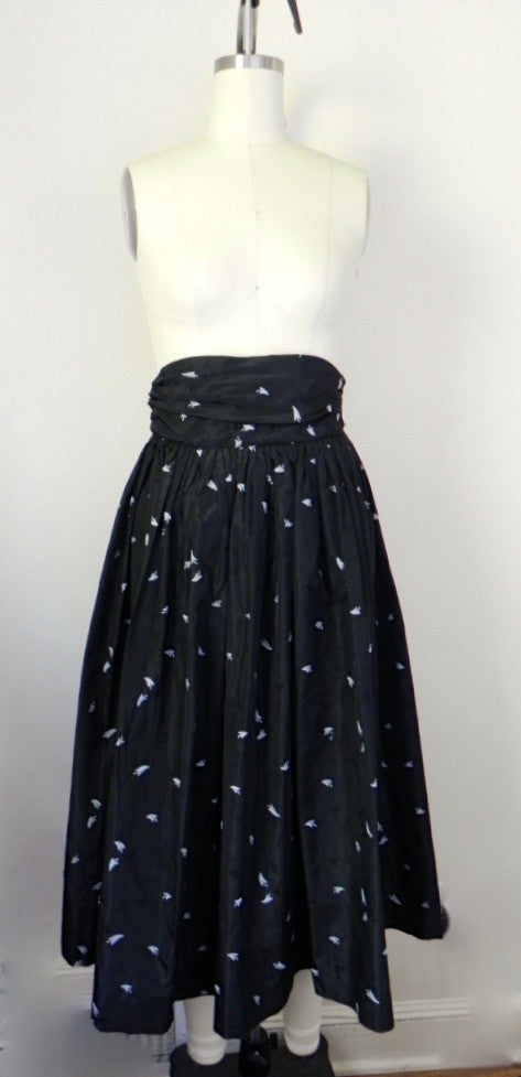 1950s Black Floral Crepe Skirt - Vintage World Rocks - 2