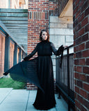 RENTAL ONLY Vintage 1970s Carolina Herrera Black Pleated Chiffon Evening Gown - Vintage World Rocks - 1