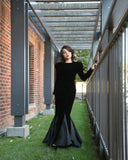 RENTAL ONLY Vintage 1970s-1980s Carolina Herrera Black Velvet Long Sleeve Sheath Evening Gown - Vintage World Rocks - 1