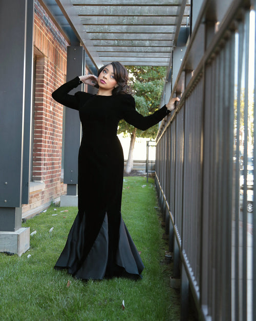 RENTAL ONLY Vintage 1970s-1980s Carolina Herrera Black Velvet Long Sleeve Sheath Evening Gown - Vintage World Rocks - 2