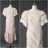 Vintage 1950 Lace White/ Pink Wedding Dress/ Formal Party Dress - Vintage World Rocks - 1