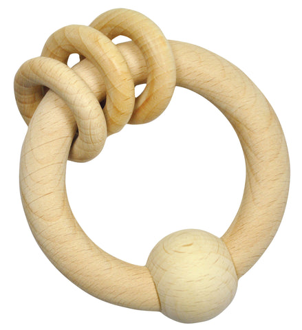 Green Sprouts Ring Rattle made from Wood