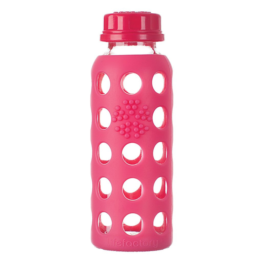 Lifefactory 9 oz / 250 ml Glass Bottle in Raspberry (Sold with flat cap)