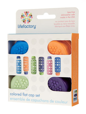 Lifefactory Coloured Flat Cap Set (Pack of 4)