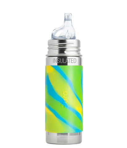 Pura Kiki 9 oz / 266 ml Insulated Toddler Sippy Bottle with Aqua Swirl Sleeve