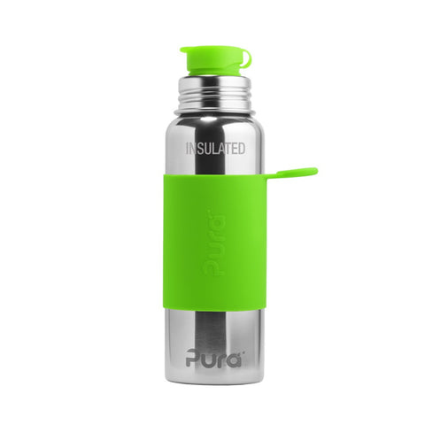 Pura Sport™ 22 oz / 651 ml Vacuum Insulated Bottle with Green Sleeve