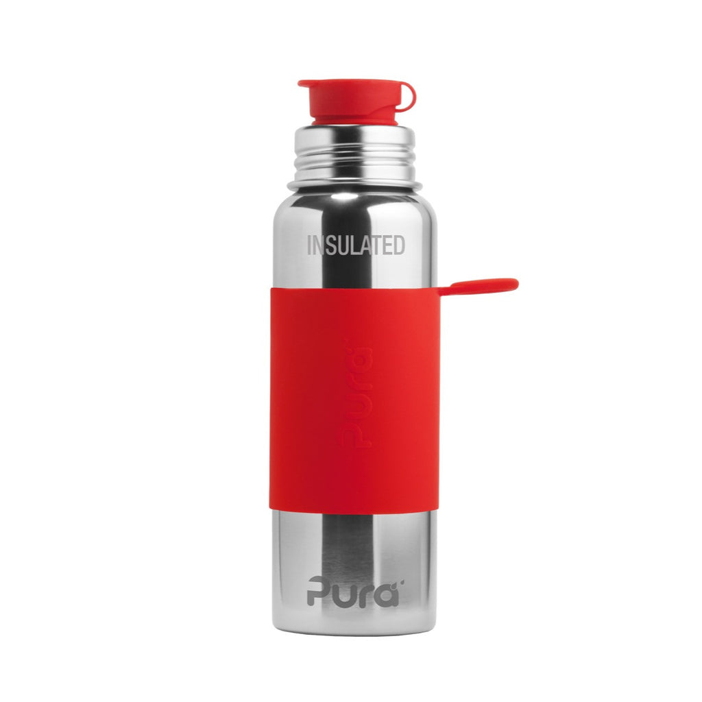 Pura Sport™ 22 oz / 651 ml Vacuum Insulated Bottle with Red Sleeve