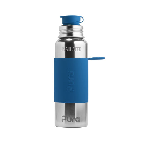 Pura Sport™ 22 oz / 651 ml Vacuum Insulated Bottle with Steel Blue Sleeve