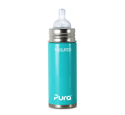 Pura Kiki 9 oz / 266 ml Insulated Infant Bottle in Aqua Blue