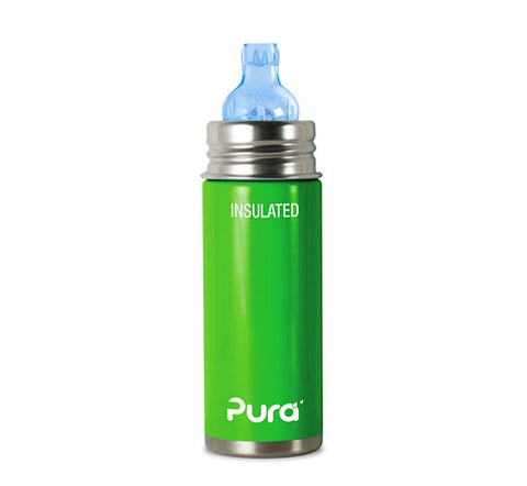 Pura Kiki 9 oz / 266 ml Insulated Toddler Sippy Bottle in Spring Green
