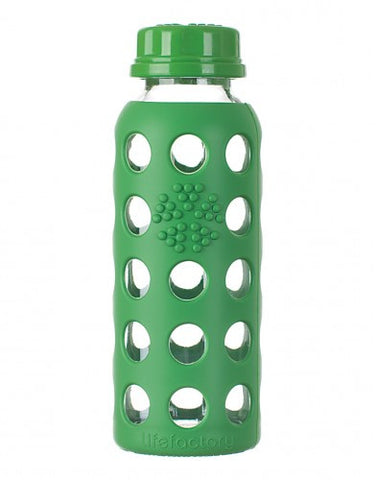 Lifefactory 9 oz / 250 ml Glass Baby Bottle in Grass Green (Sold with flat cap)