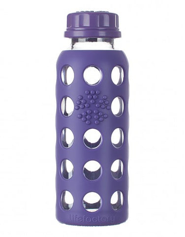Lifefactory 9 oz / 250 ml Glass Baby Bottle in Royal Purple (Sold with flat cap)