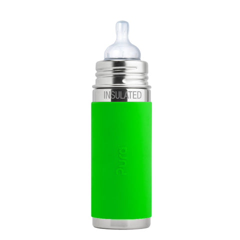 Pura Kiki 9 oz / 266 ml Insulated Infant Bottle with Green Sleeve