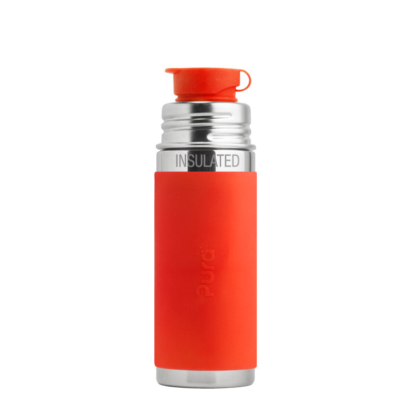 Pura Sport Mini™ 9 oz / 266 ml Vacuum Insulated Bottle with Orange Sleeve