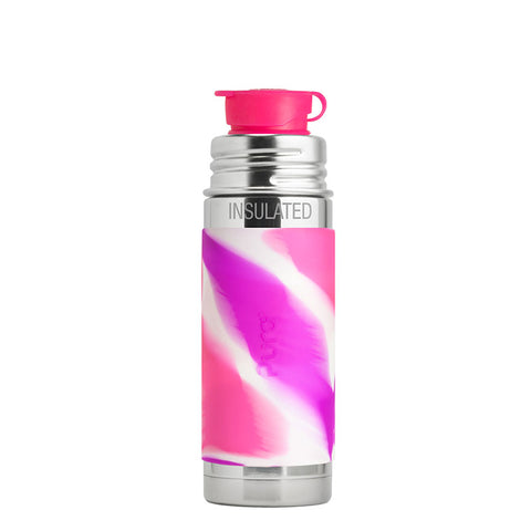 Pura Sport Mini™ 9 oz / 266 ml Vacuum Insulated Bottle with Pink Swirl Sleeve