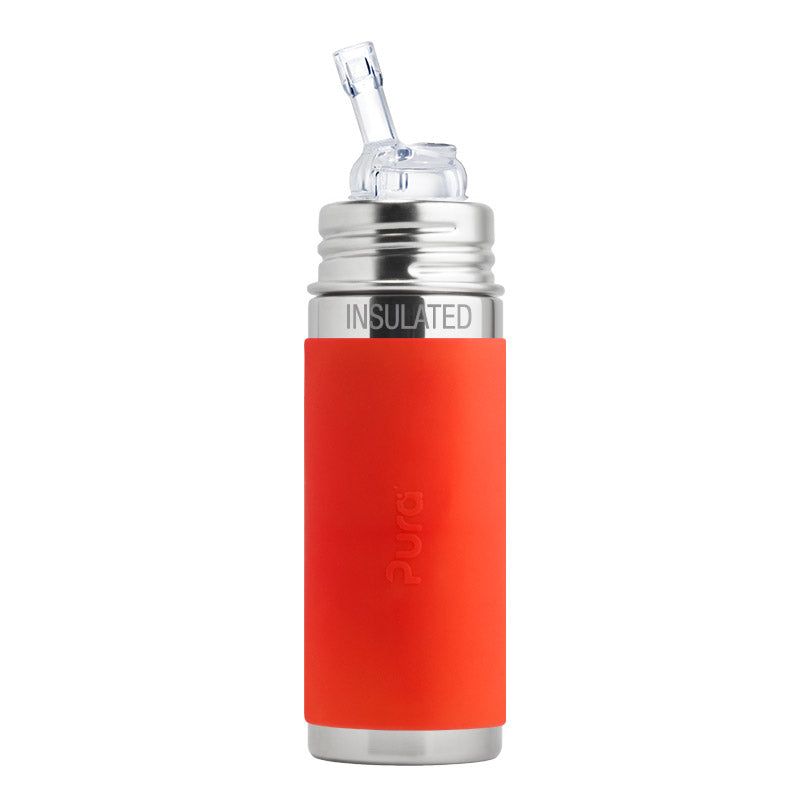Pura Kiki 9 oz / 266 ml Insulated Straw Bottle with Orange Sleeve