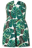 Topshop Palm Bandeau Skort Playsuit UK4