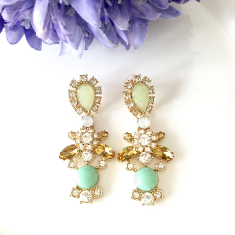 """Jade"" Chandelier Dangle Jewel Earrings"