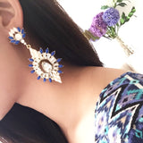 """Miranda"" Blue Chandelier Dangle Jewel Statement Earrings"